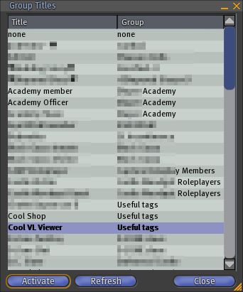 The Group Titles Floater Allows To Quickly Set Your Avatar Title That Tag Appearing Before Its Name And Is Accessed From Pie Menu After A Right